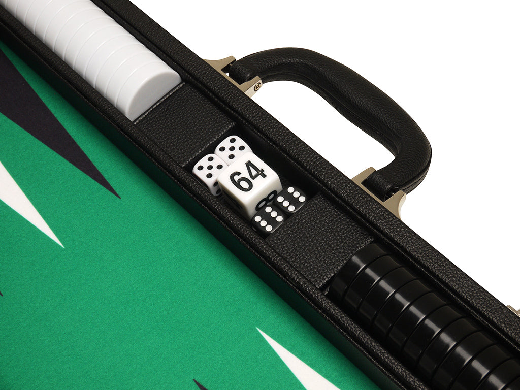19-inch Premium Backgammon Set - Black Board with White and Black Points - EUR - American-Wholesaler Inc.