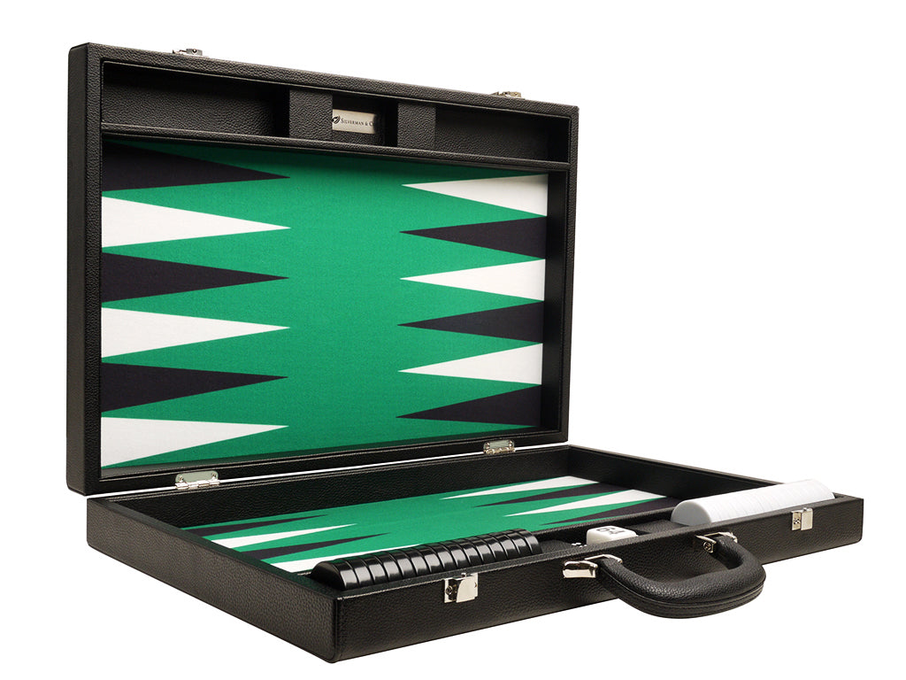 19-inch Premium Backgammon Set - Black Board with White and Black Points - GBP - American-Wholesaler Inc.