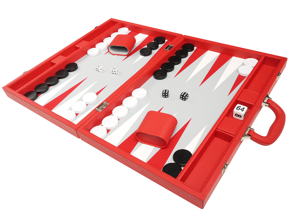 19-inch Premium Backgammon Set - Red - GBP - American-Wholesaler Inc.