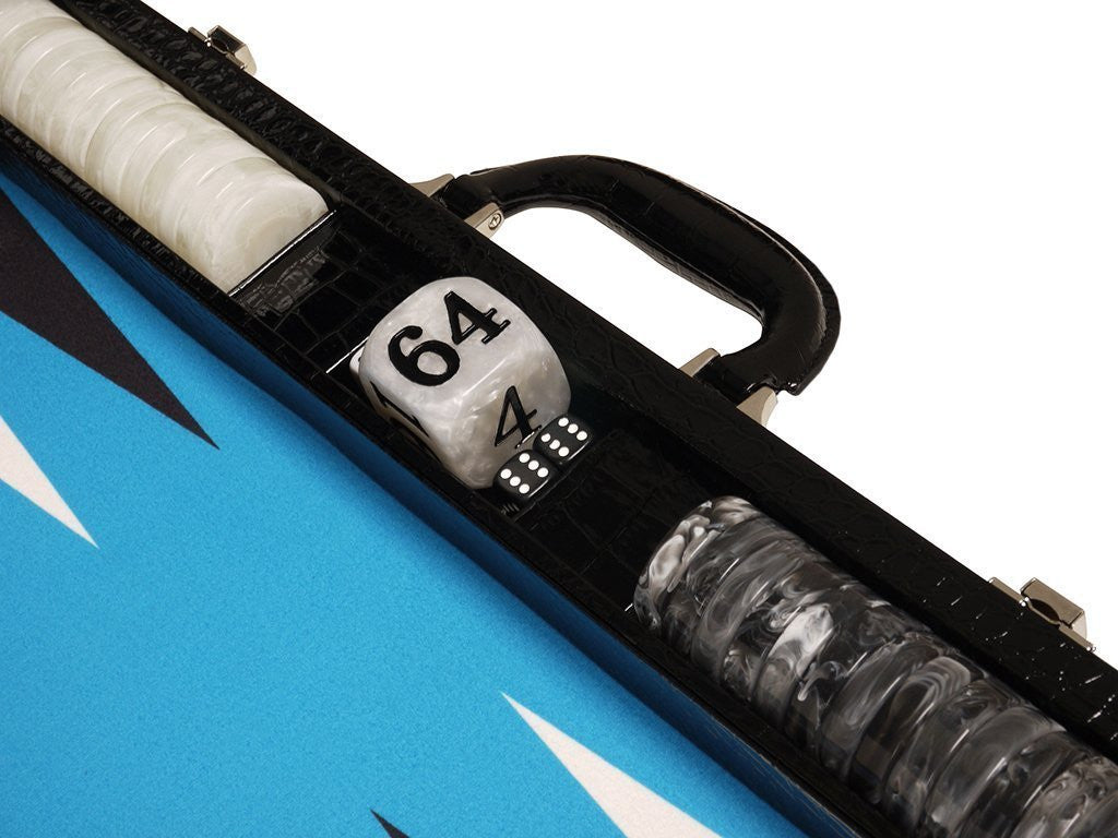 21-inch Tournament Backgammon Set, Wycliffe Brothers - Black Croco with Blue Field - Gen III - EUR - American-Wholesaler Inc.