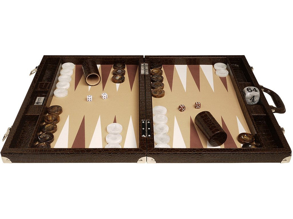 21-inch Professional Tournament Backgammon Set, Wycliffe Brothers - Brown Croco Board, Beige Field - Gen III - EUR - American-Wholesaler Inc.
