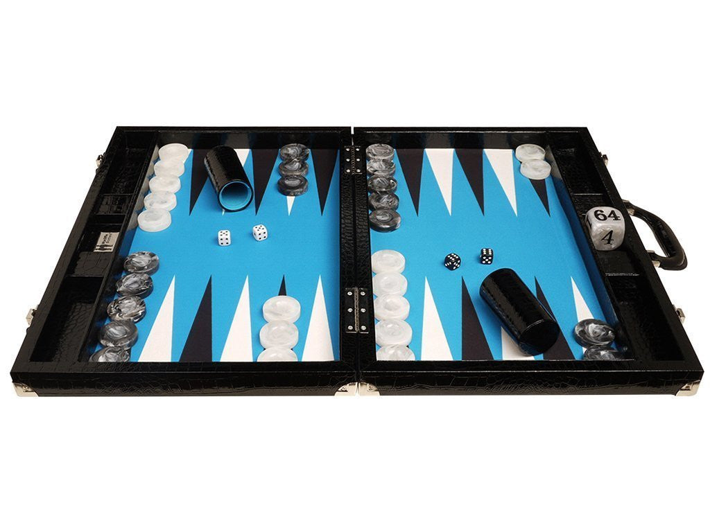 21-inch Tournament Backgammon Set, Wycliffe Brothers - Black Croco with Blue Field - Gen III - GBP - American-Wholesaler Inc.