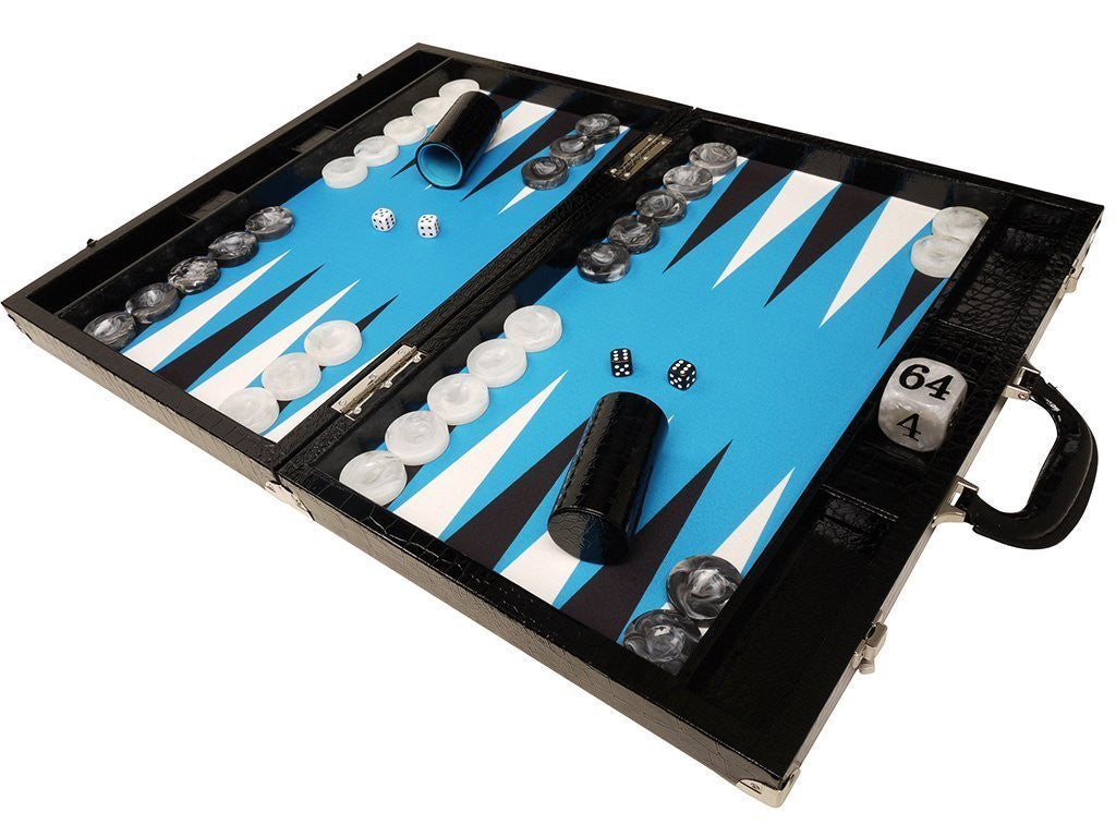 "21"" Tournament Backgammon Set, Wycliffe Brothers - Black Croco with Blue Field - Gen III - American-Wholesaler Inc."