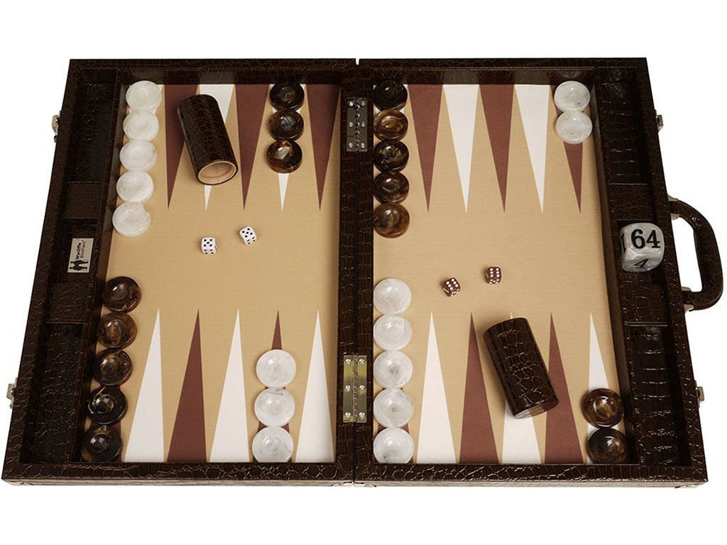 "21"" Professional Tournament Backgammon Set, Wycliffe Brothers - Brown Croco Board, Beige Field - Gen III - American-Wholesaler Inc."