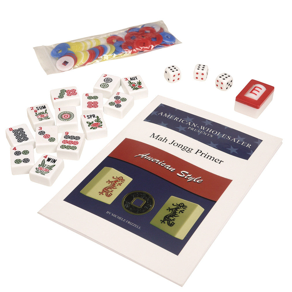 Soft-Sided American Mah Jongg Set by Linda Li® with White Tiles and Modern Pushers - Denim Bag - GBP - American-Wholesaler Inc.