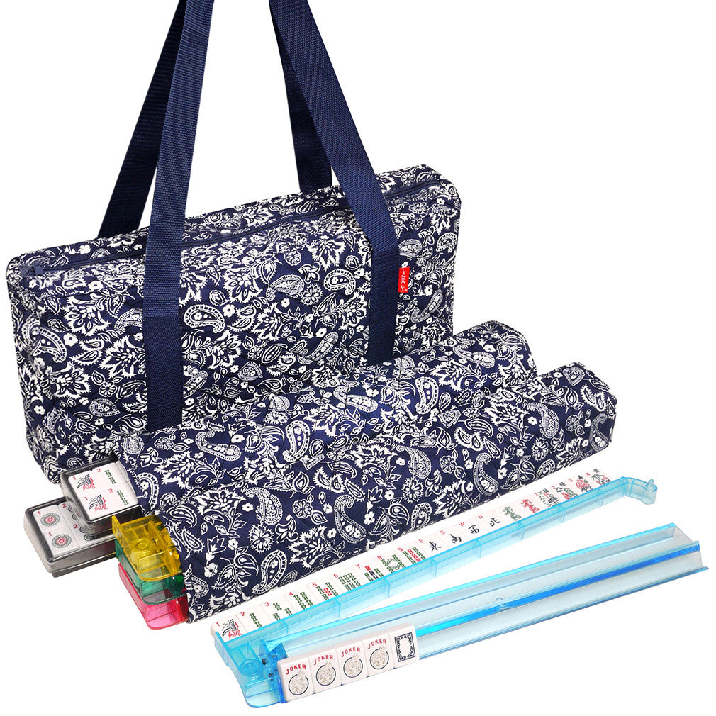 Soft-Sided American Mah Jongg Set by Linda Li® with White Tiles and Modern Pushers - Blue Paisley Soft Bag - GBP - American-Wholesaler Inc.