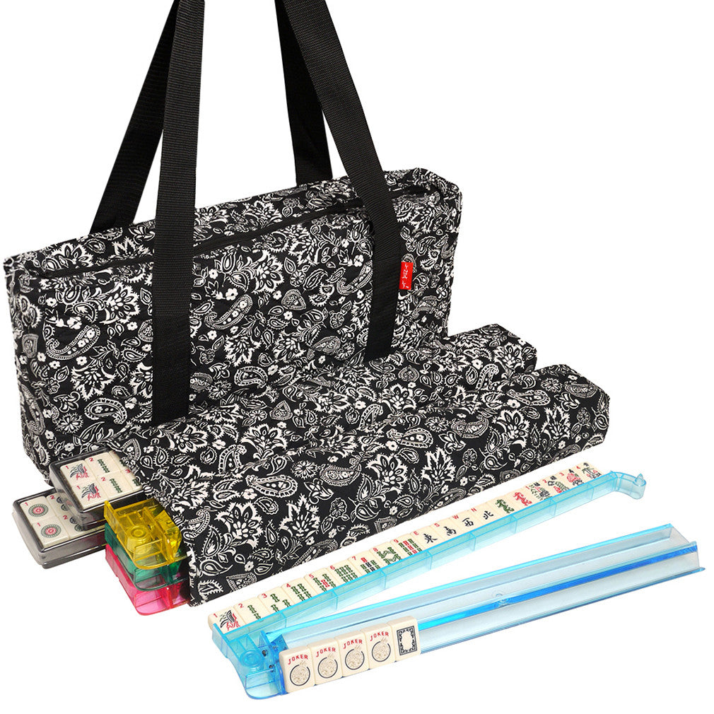 Soft-Sided American Mah Jongg Set by Linda Li® with Ivory Tiles and Modern Pushers - Black Paisley Soft Bag - EUR - American-Wholesaler Inc.