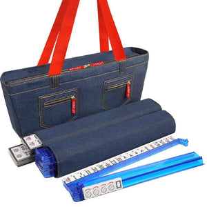 Soft-Sided American Mah Jongg Set by Linda Li® with White Tiles and Modern Pushers - Denim Bag