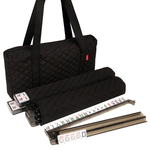 American Mah Jongg Set by Linda Li ™ with modern white tiles and pushers - quilted black fabric bag