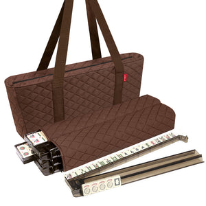 Soft-Sided American Mah Jongg Set by Linda Li® with Ivory Tiles and Modern Pushers - Brown Soft Bag