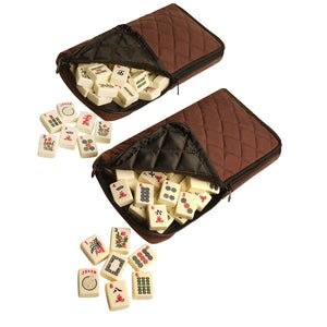 Soft-Sided American Mah Jongg Set by Linda Li® with Ivory Tiles and Modern Pushers - Brown Soft Bag - American-Wholesaler Inc.