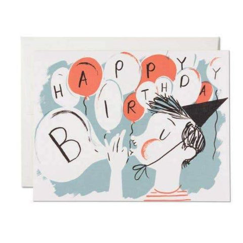 Blowing Balloons Birthday Card