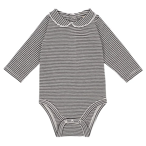 Stripe Baby Onesie with Collar - Black and Cream