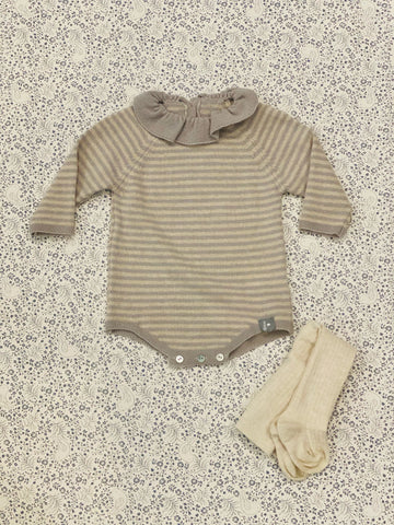 Knit Romper and cream tights