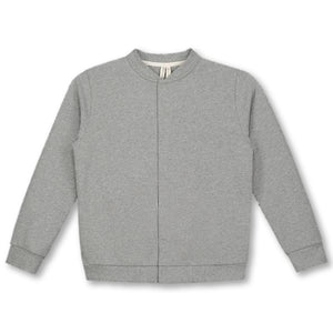 Grey Melange Baseball Cardigan