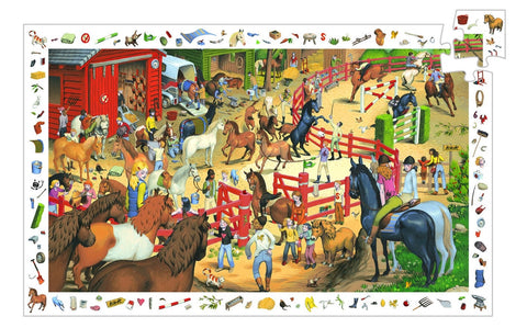 Observation Puzzle - Horseback Riding & Poster