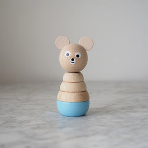 Edward - Blue Wooden Stacking Bear