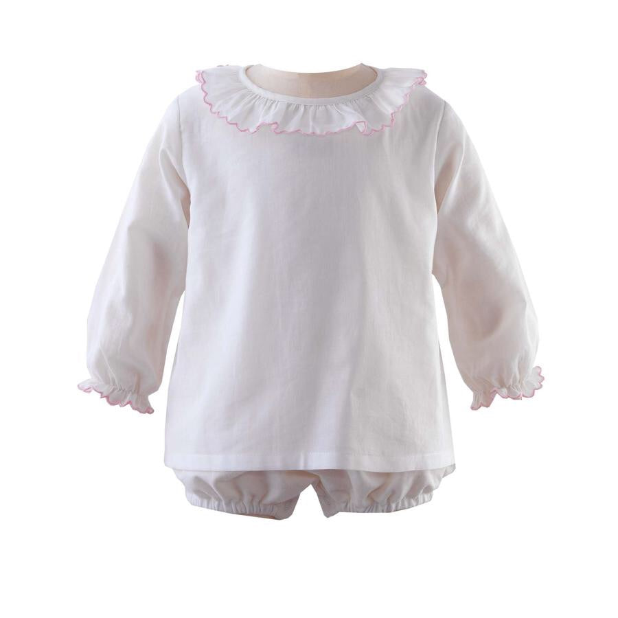 Frill Collar Body - Ivory & Pink