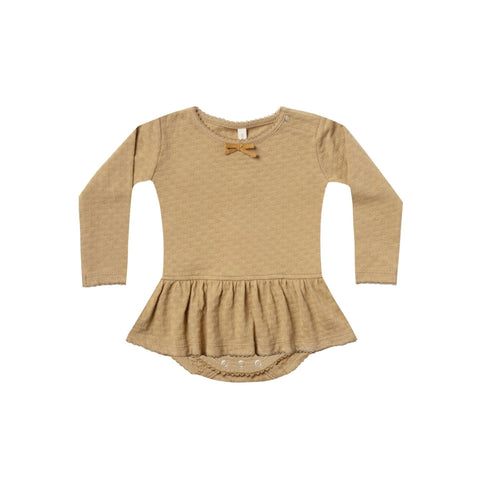 Pointelle Skirted Onesie - Honey