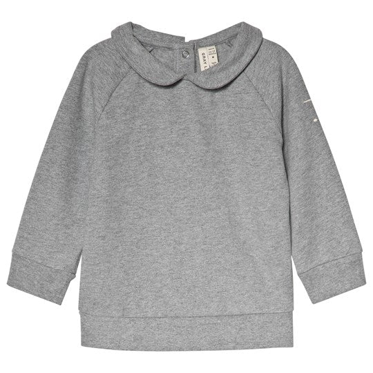Grey Melange Collar Sweatshirt