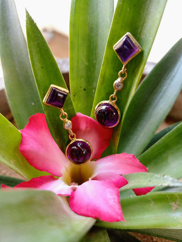 amethyst earrings nagicia handcrafted in bali