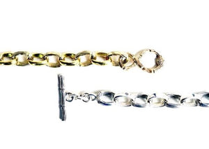 NAGICIA JEWELRY BAMBOO LINKS BRACELET SILVER GOLD