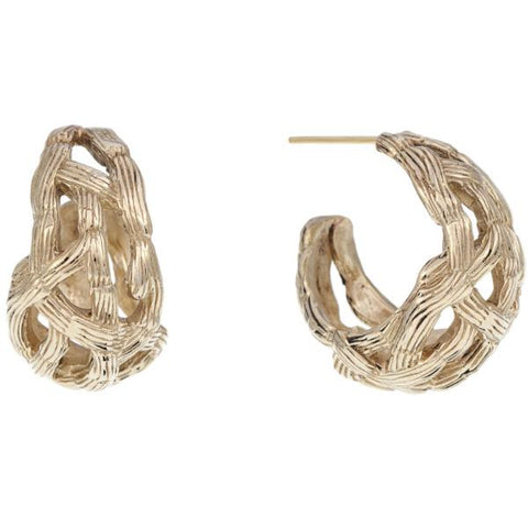 WATER BAMBOO DOMED EAR HOOPS
