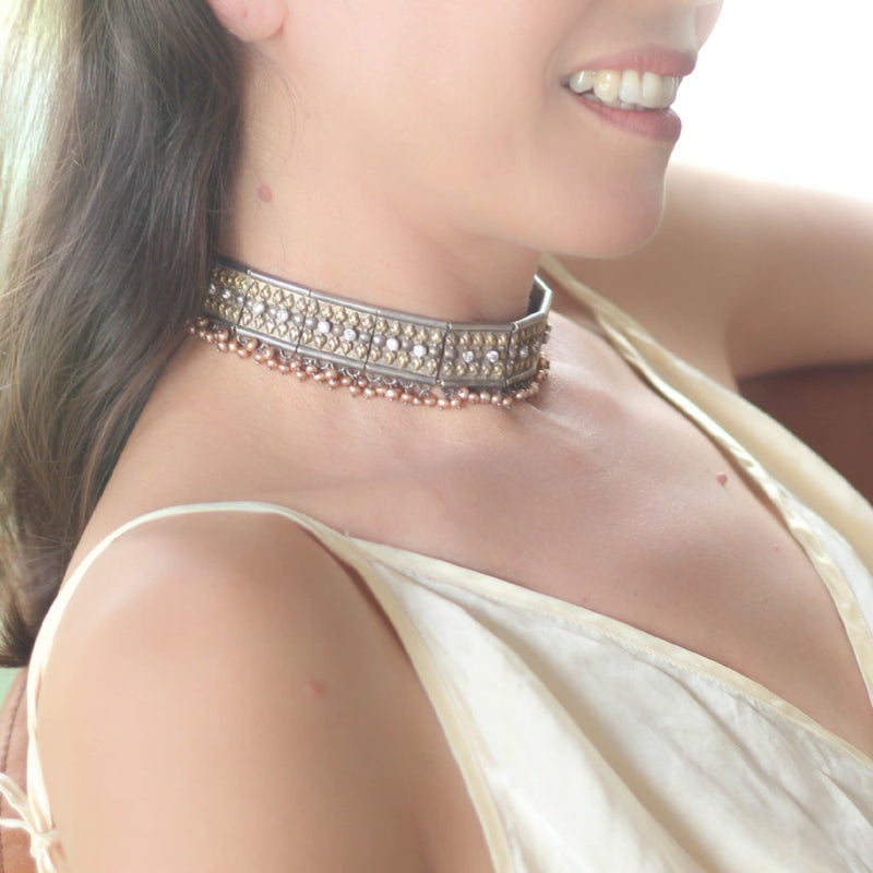 Lotus Hearts Gemstones Collar-nagicia-jewelry-handcrafted-in-bali