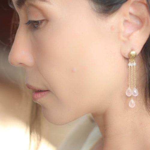 Lotus Bud Gemstones Earrings