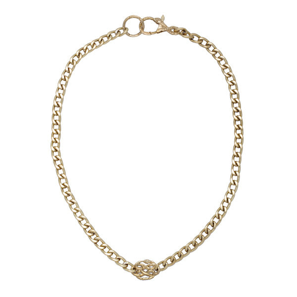 Curb Chain Necklace with Snake Details - nagicia