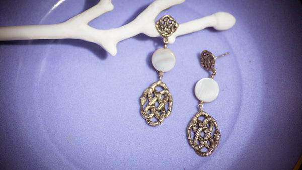 Infinity Knot Earrings with Shell