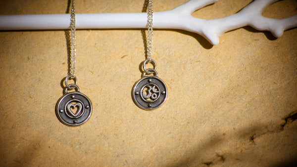 Silver Heart & Om Pendant on Chain