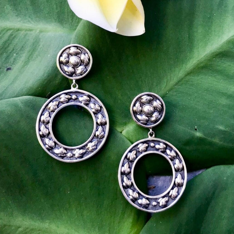 Lotus Hearts Wreath Earrings-nagicia-jewelry-handcrafted-in-bali