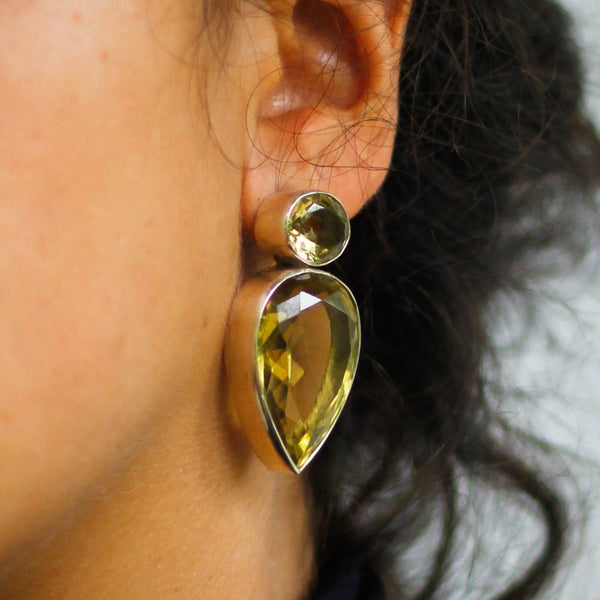 Indian Citrine Ear post - nagicia