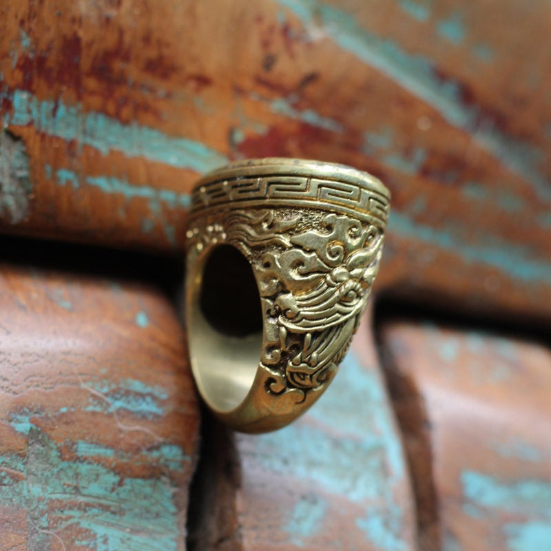 Dragon Naga Hammered Ring - nagicia