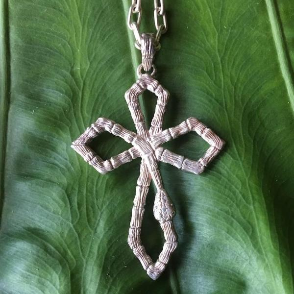 Snake Cross Pendant-nagicia-jewelry-handcrafted-in-bali