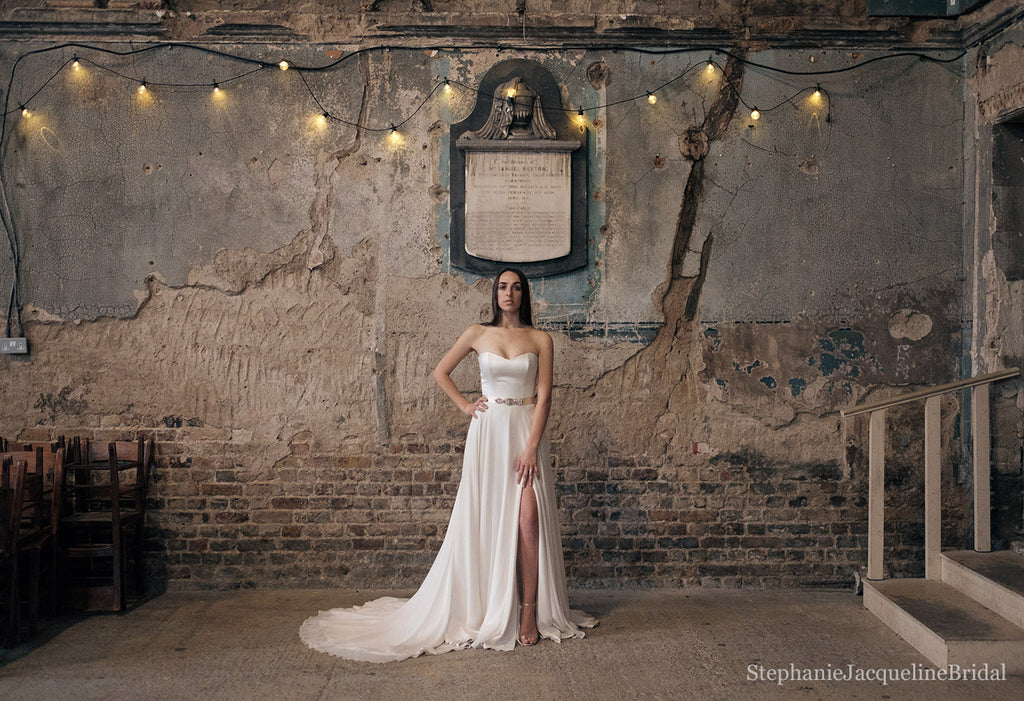 Stephanie Jacqueline Bridal photoshoot at Asylum Chapel with Stephanie Allin dress