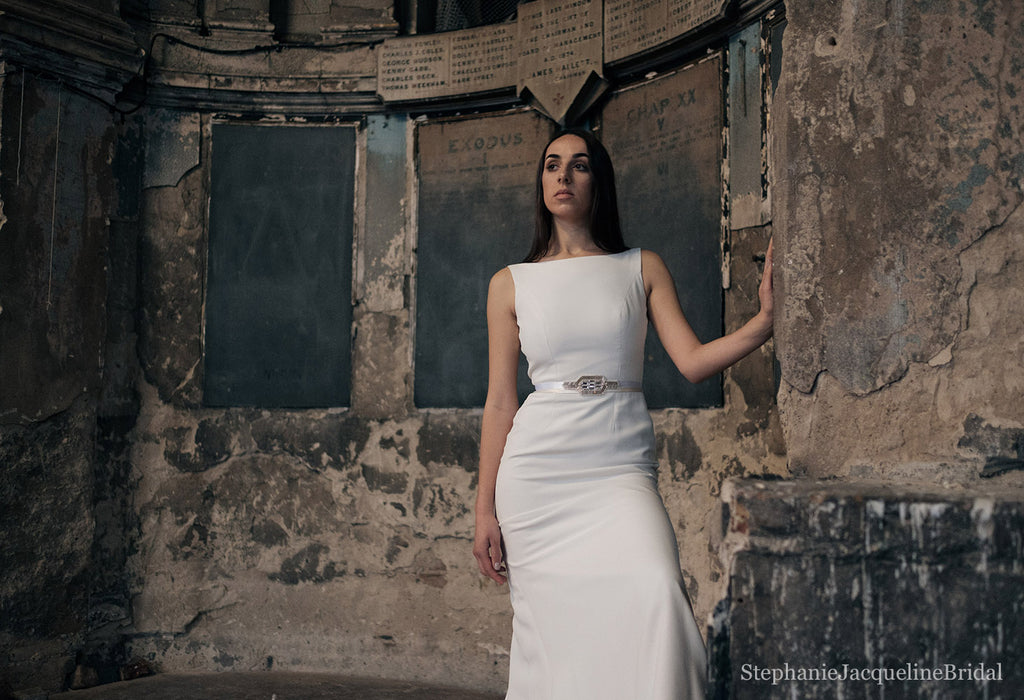 Styled image of the Anastasia bridal belt worn with a sleek modern wedding dress at London's Asylum Chapel