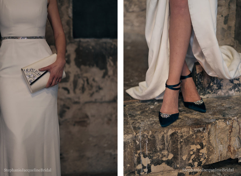 Embellished bridal shoes and clutch bag