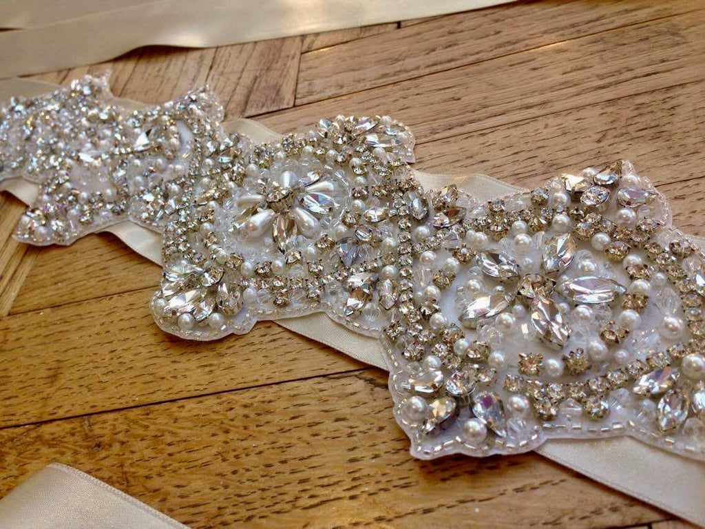 Bespoke hand embellished bridal belt