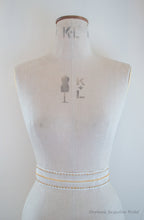Alyson embroidered lattice bridal belt shown on a mannequin