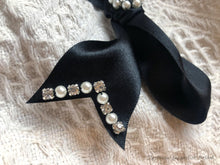 Hand Beaded Zero Waste Black Hair Ribbon Clip