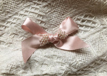 Small Hand Beaded Zero Waste Blush Hair Bow Clip