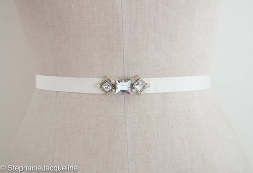 Hand Beaded Ada Bridal Belt using sqaure crystals on grosgrain
