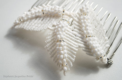 close up of leafy adele bridal hair comb