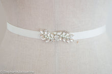 Close up of Aimee hand beaded bridal belt