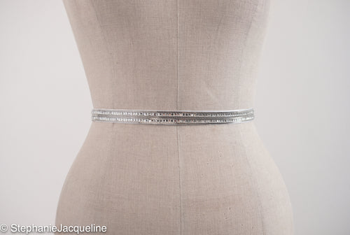 Alexa narrow modern bridal belt on a mannequin
