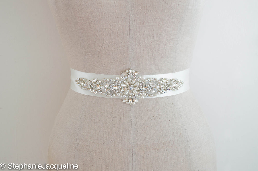 Hand beaded Amelia bridal sash