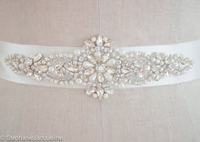 Close up of hand beading on Amelia bridal sash