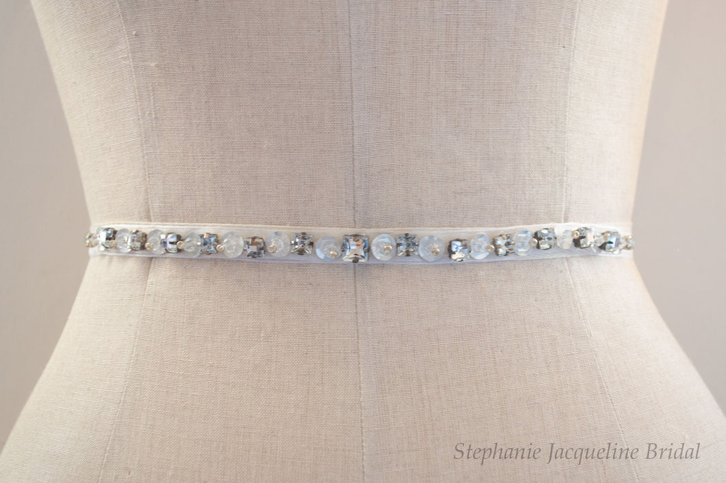 Hand beaded thin Anais belt